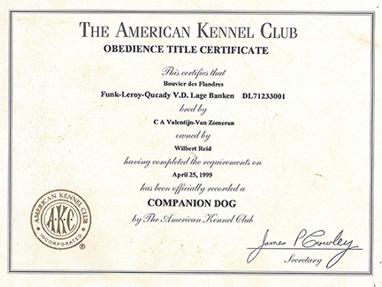 Obedience Title Certificate